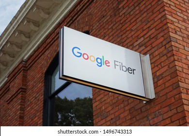 RALEIGH,NC/USA - 09-04-2019: Google Fiber offices in Raleigh, NC which focuses on installing fiber optic cabling for high speed Internet access