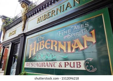 RALEIGH,NC/USA - 09-04-2019: The Hibernian Irish Pub and restaurant in the Glenwood South neighborhood near downtown Raleigh