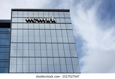 RALEIGH,NC/USA - 09-04-2019: wework offices, which offers shared coworking space, in Raleigh, NC