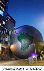 RALEIGH,NC/USA - 10-30-2018: The North Calolina Museum of Natural Sciences, with its oversize globe and modern exterior in downtown Raleigh.
