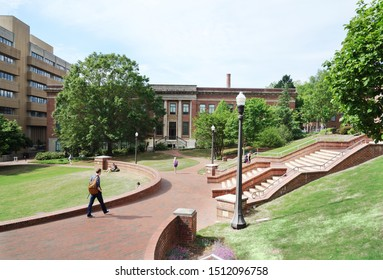 RALEIGH,NC/USA - 4-25-2019: Students walking on the campus of North Carolina State University in Raleigh NC