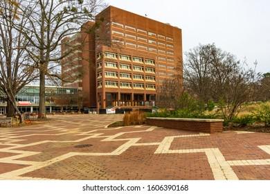 Raleigh,NC/USA-1/5/20:North Carolina State University. Library viewed from Brickyard.