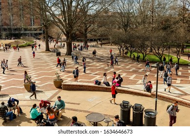 Raleigh,NC/USA-2/3/20:Students at NC State Congregate on the Brickyard on a Warm February Morning.
