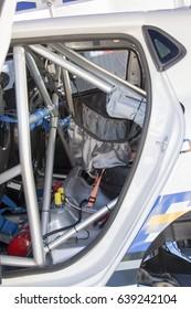 Rally car inside posterior.
