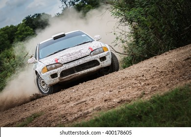 Rally car on dirt track