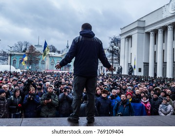 Rally near the Verkhovna Rada of Ukraine after the release of Saakashvili. The ex-governor of the Odessa region, Mikhail Saakashvili, was detained in Kiev on Tuesday, December 5, 2017.