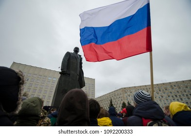 Rally in Russia. The monument to Lenin and the Russian flag. Russia, Arkhangelsk