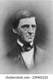 Ralph Waldo Emerson (1803-82 , American writer and poet. 1884 mezzotint portrait.
