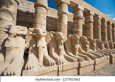 Ram headed avenue of sphinxes at ancient egyptian Karnak Temple in Luxor