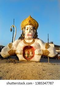 Ram mandir Ayodhya Uttar Pradesh/India - April 28, 2019. Statue of Hanuman ji showing ram Bhagwan(lord) and sita ji in their heart. Indian god lord Hanuman ji sculpture.