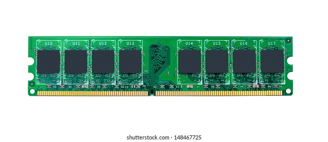 RAM module for the personal computer on a white background. Random access memory