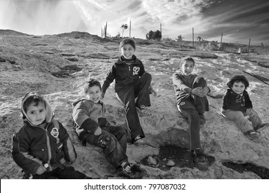 Ram, Palestine, circa December 2013. Palestinian Bedouins east of Jerusalem still sustain nomadic lifestyle, living in tents and breeding goats. The lifestyle is slowly disappearing in the area.