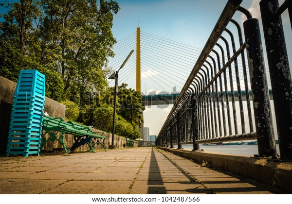 Rama 9 Bridge with the park in the capital