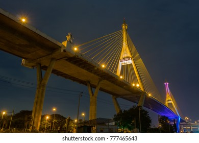 Rama 9 memorial Bridge in Bangkok : night shot at under the memorial bridge