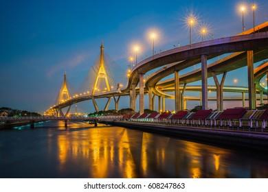 Rama nine bridge (rama 9 bridge), pavilion and park, Bangkok, Thailand