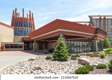 Rama, Ontario, Canada - June 10, 2018: Entrance of Casino Rama, a large casino, hotel and entertainment complex located on the reserve land of Chippewas of Rama First Nation.