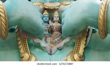 Rama and Sita inside Hanuman chest. A sight from Batu Caves Temple in Malaysia.