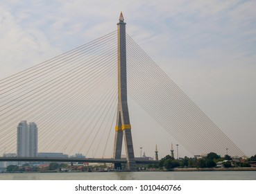 Rama VII beabtiful bridge in Bangkok city,Thailand.