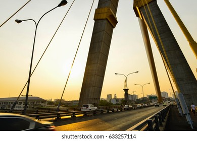 Rama VIII Bridge a beautiful bridge in Bangkok.