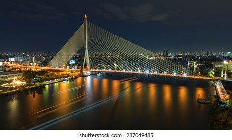The Rama VIII Bridge and blue hour