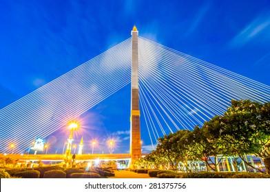Rama VIII Bridge at night in Bangkok Thailand