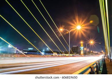 Rama VIII Bridge at Night Bangkok Thailand
