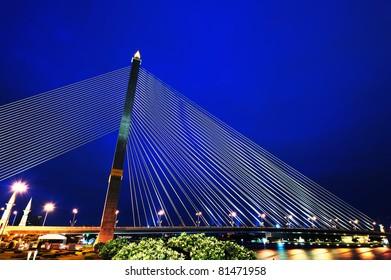 Rama VIII Bridge at night in Bangkok, Thailand