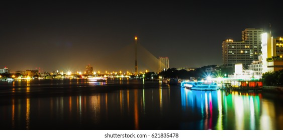 Rama VIII bridge is one of the most beautiful bridge in Bangkok city, Thailand. The structure is used of wire rope hanging at the tip of the column of the bridge, engineering.