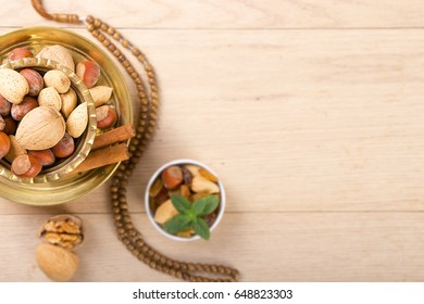 Ramadan Background - Collection of Ramadan Nuts on wooden table