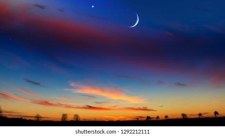 Ramadan background . Half moon and star . Beautiful star . Sunset and new moon . Beautiful sky