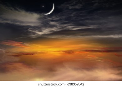 Ramadan background . Half moon and star .  Sky of a decline . Fantastic Ramadan .  Beautiful decline . Sunset and new moon . Beautiful sky .