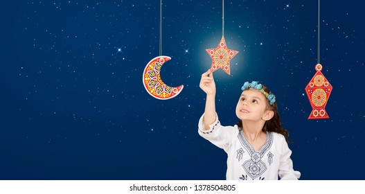 Ramadan background , Muslim Girl Celebrating Ramadan on blue sky background - Ramadan Kareem Social Greeting Card Banner