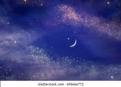 Ramadan background . Prayer time .  Dramatic nature background . Arab night   .The sky at night with stars. New moon