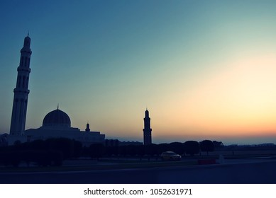 Ramadan concept after sunset or twilight time at beautiful mosque in Oman. Time for iftar meal or breaking the fast.