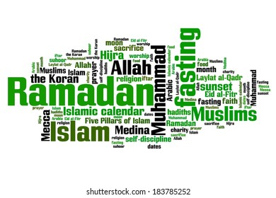 Ramadan concepts word cloud illustration. Word collage concept.