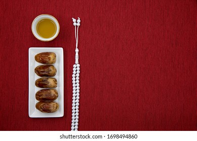 Ramadan dates with Arabian coffee and rosary