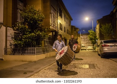 Ramadan Drummer and Eid Drummer walking in Istanbul streets at midnight 30 May 2018 Istanbul - Turkey