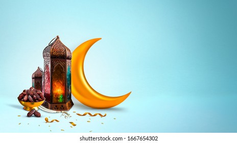 Ramadan and Eid al fitr concept 2020 backgrounds dates with Turkish traditional lantern Light Lamp and Tasbeeh, light blue color Iftar theme image, Ramadan Kareem Mubarak 3d background