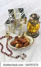 Ramadan gift with dates and lantern