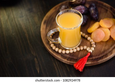 Ramadan juice for iftar made from fresh apricots with dried apricots and dates.