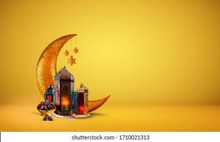 Ramadan kareem 2020 new background image, islamic concept golden and yellow color Ramadan and Eid al fitr 3d image, golden half moon with dates and lantern light lamp decoration new Eid al fitr image