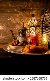Ramadan kareem with Arabic Lantern, Dates & Dry Fruits
