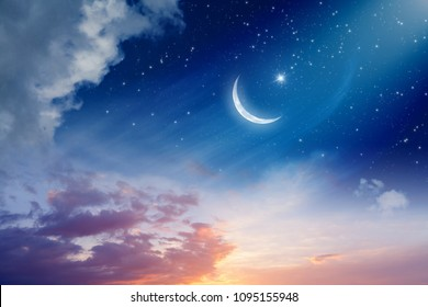 Ramadan Kareem background with crescent moon and stars, holy month. Elements of this image furnished by NASA