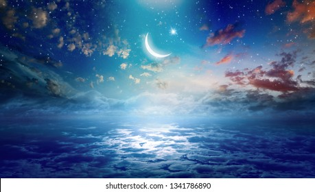 Ramadan Kareem background with crescent and stars, holy month celebration. Elements of this image furnished by NASA