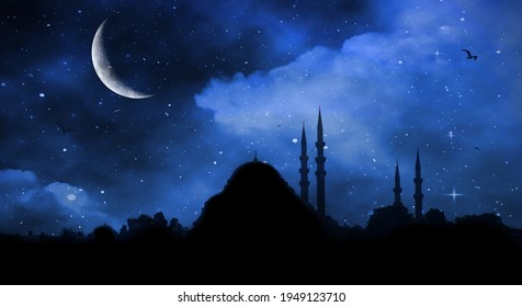 Ramadan Kareem background. Mosque silhouette in night sky with crescent moon and star