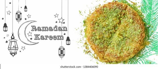 Ramadan Kareem banner design with cheese kunafa, traditional Middle Eastern dessert, and drawing elements. Arabic Ramadan sweet kanafeh with phyllo dough, mozzarella cheese, pistachio powder. Image