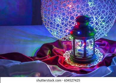 Ramadan Kareem a beautiful greeting Arabic card with Lantern and colored lights ''Ramadan kareem'' (a month of fasting in Islam).