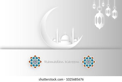 Ramadan Kareem and Eid Fitr concept. Illustration of mosque, moon and lantern. Paper cut style.