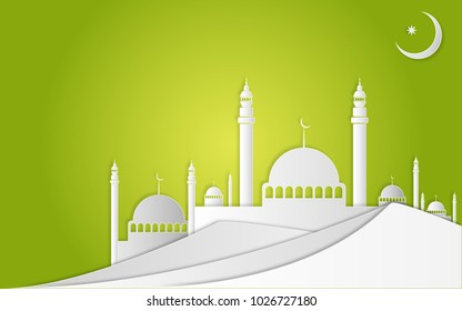 Ramadan Kareem and Eid Fitr concept. Illustration of mosque, moon at desert on green background. Paper cut style.