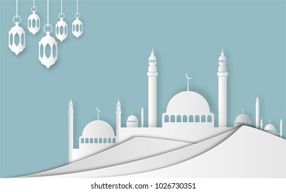 Ramadan Kareem and Eid Fitr concept. Illustration of mosque, moon at desert. Paper cut style.